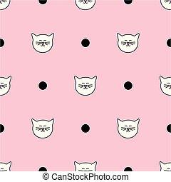 points, rose, modèle, polka, vecteur, arrière-plan noir, carreau, chats, blanc