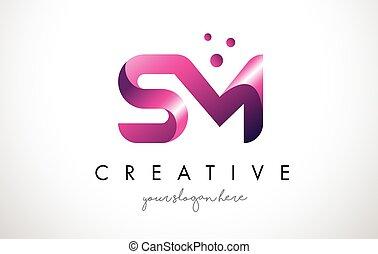 points, sm, pourpre, couleurs, conception, lettre, logo