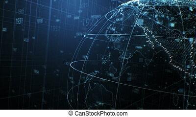 points, uhd, concept, tourner, business, seamless., dof, gros plan, hologramme, blur., fait boucle, nombres, 3840x2160, la terre, 4k, technologie, animation, futuriste, 3d
