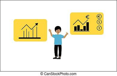 points, vecteur, financier, moderne, illustration, graphs., style., plat, divers, exposer, concept, type, informatique, analytics., statistique, statistiques, analyse, diagrammes, données