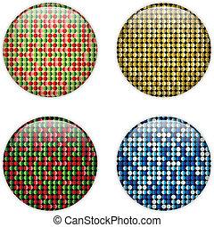 points, verre, cercle, bouton, coloré