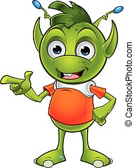 Pointy Eared Alien Character - A cartoon illustration of a...