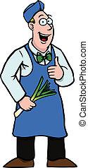 poireau, marchand de légumes, sien, haut, pouces