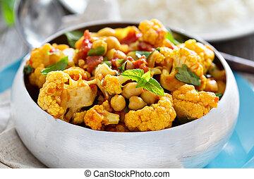 pois chiches, légumes, curry, vegan