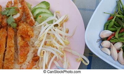 pois, frit, boîtiers, nourriture., poulet, riz, croustillant, thaï, breading