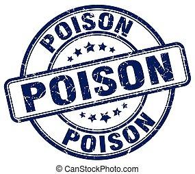 poison blue grunge stamp