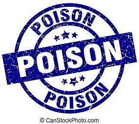 poison blue round grunge stamp