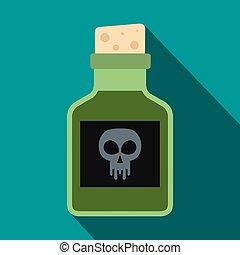 Poison bottle icon, flat style