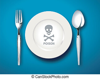 Vector illustrator poison symbol on white plate on a blue background ,poison food concept