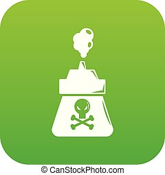 Poison icon green vector
