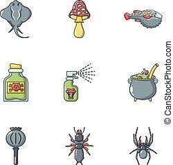 Poison icons set, cartoon style - Poison icons set. Cartoon...
