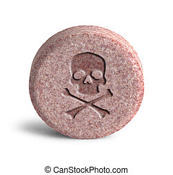 Poison Medicine - Pink Pill with Skull and Cross Bones...