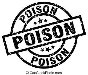 poison round grunge black stamp