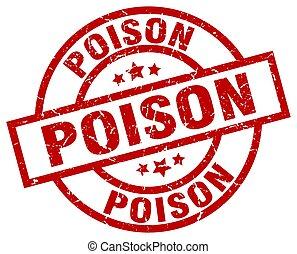 poison round red grunge stamp