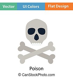 Poison sign icon. Flat color design. Vector illustration.