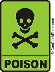 Poison Sign - illustration of a black skull on green...