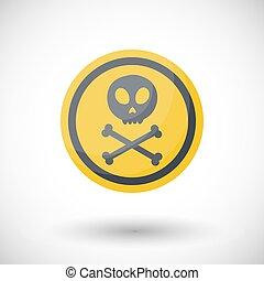 Poison sign vector flta icon, Flat design of danger alert...