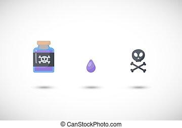Poison vector flat icon set