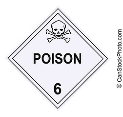 United States Department of Transportation poison warning placard isolated on white