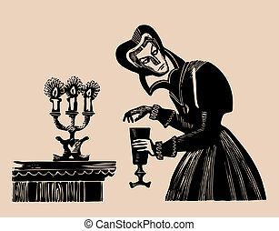 poison wine etching