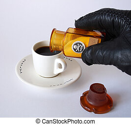 Hand in black leather glove strewed poison in cup of coffee