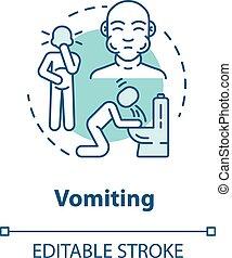 poisoning., estomac, icon., indisposé, rgb, vecteur, ...