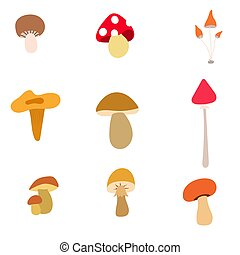 Poisonous and edible mushrooms. - Set of vector icons of ...