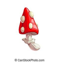 Poisonous mushroom, cartoon amanita icon - Amanita mushroom ...