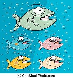poisson bleu, illustration, eau, vecteur, bulle