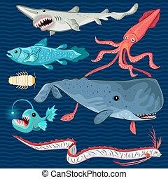poisson bleu, mer, profond, collectio