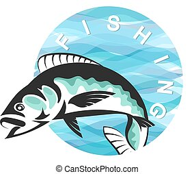 poisson bleu, vagues