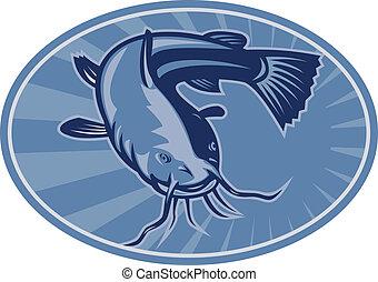 poisson-chat, retro, woodcut, bullhead