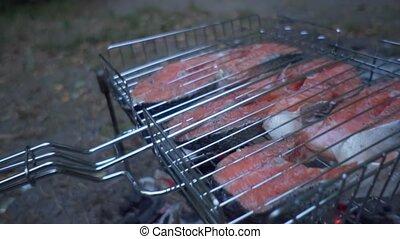 poisson grillé, filets, rouges, gril, stake., saumon