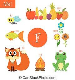 poisson mouche, fleur, renard, fruit, alphabet, brûler, lettre, grenouille, children., dessin animé, f.
