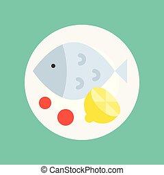 poisson plat, citron, gastronomie, ensemble, nourriture, vapeur, icône
