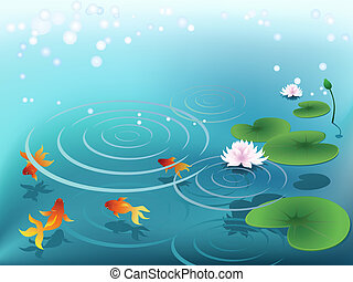 poisson rouge, étang