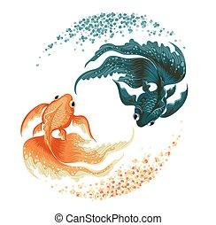 poisson rouge, carpe, noir