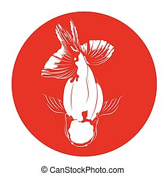 poisson rouge, cartes, blanc, silhouette.