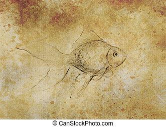 Tatouage croquis color sur japonaise papier poisson - Croquis poisson ...