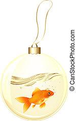 poisson rouge, doré, balle, nouvel an