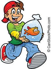 poisson rouge, garçon