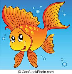 poisson rouge, mignon, eau