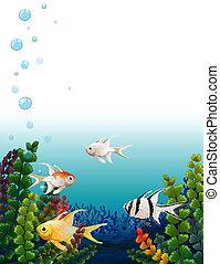poissons, école, mer, sous
