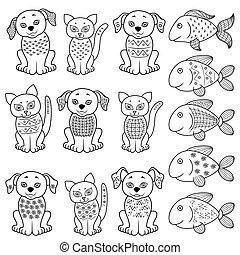 poissons, ensemble, chats, chiens, dessin animé