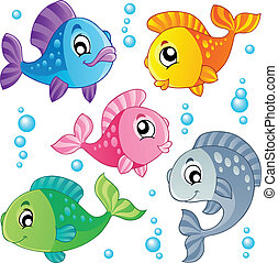 poissons, mignon, 3, divers, collection