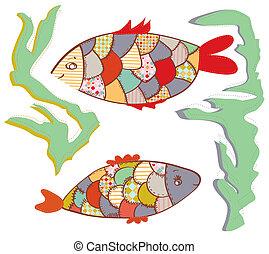 poissons, rigolote, ensemble, patchwork, conception, eau