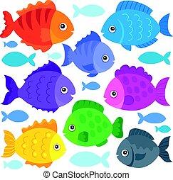 poissons, thème, stylisé
