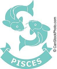 poissons, zodiaque, (horoscope, icon), signe