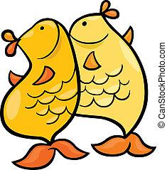 poissons, zodiaque, signe