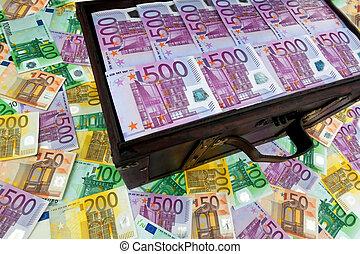poitrine, à, euro, billets banque., financier, crise, crise, debt.